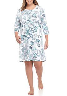 Plus Size Three Quarter Sleeve Henley Sleep Shirt