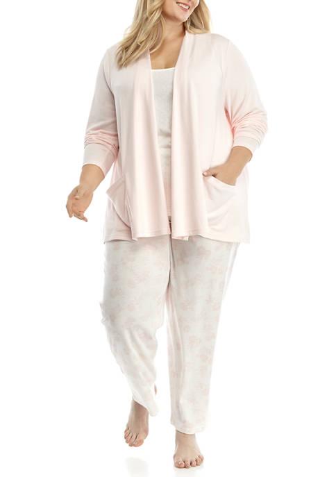 Kim Rogers® Plus Size 3 Piece Cardigan Pajama