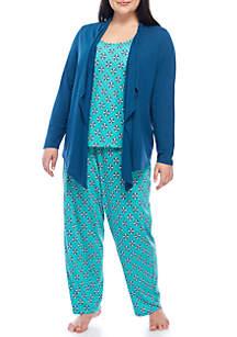 3-Piece Cardigan Pajama Set
