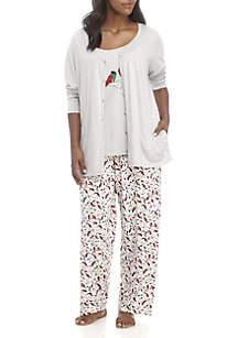 Plus Size 3-Piece Cardinal Pajama Set