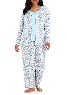 Plus Size 3-Piece Cardigan Pajama Set