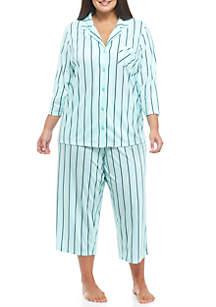 Plus Size 2-Piece Three-Quarter Sleeve Bow Pajama Set
