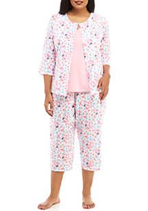 Kim Rogers® Plus Size 3 Piece Printed Pajama Set