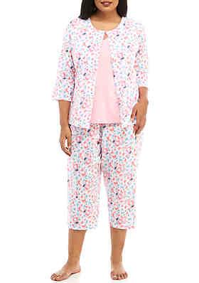 6d4cdc701e Kim Rogers® Plus Size 3 Piece Printed Pajama Set ...