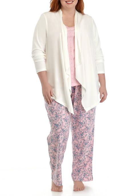 Kim Rogers® Plus Size Waterfall Cardigan Pajama Set