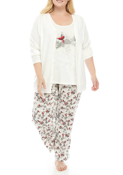 Kim Rogers® Plus Size 3 Piece Folded Pajama