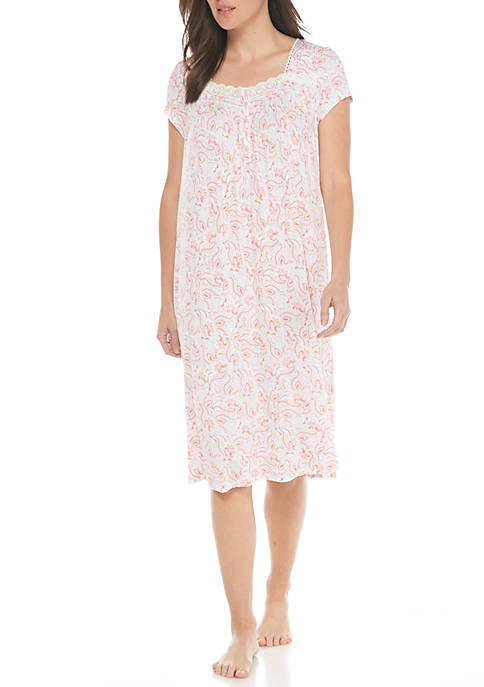 Short Sleeve Button Front Gown