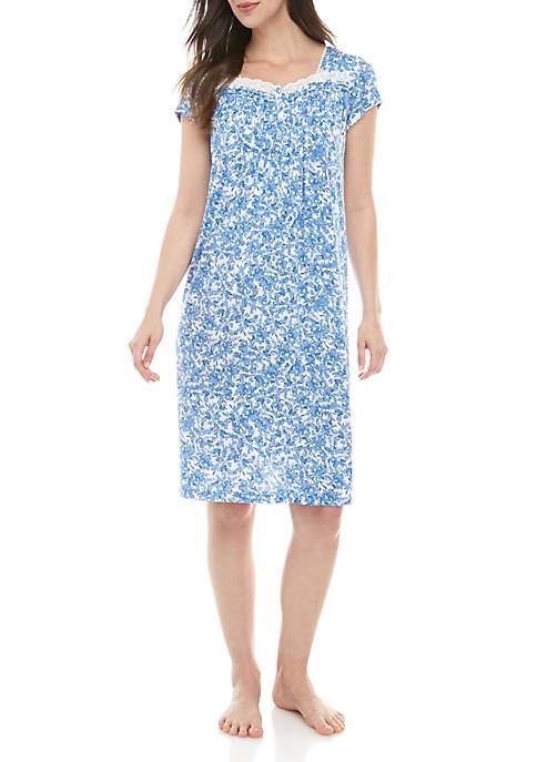 Kim Rogers® Short Sleeve Button Front Gown