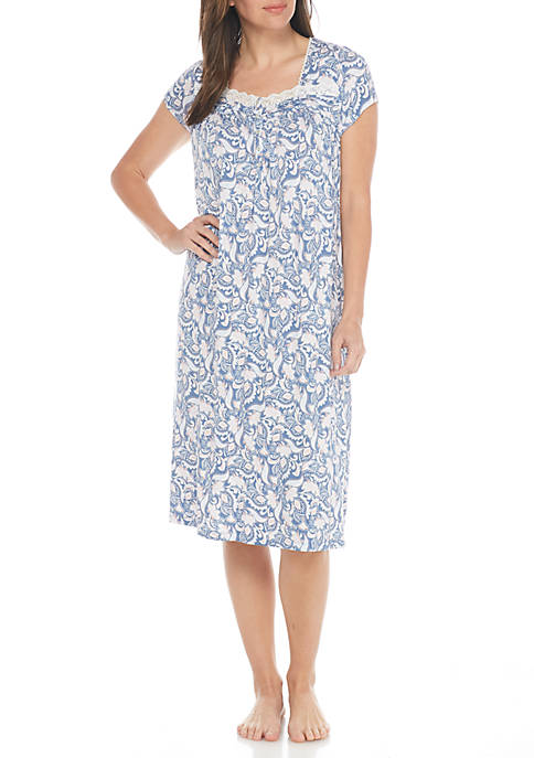 Kim Rogers® Short Sleeve Button Front Sleep Gown