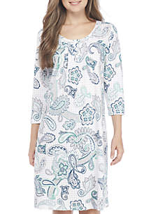 Three-Quarter Sleeve Henley Sleepshirt