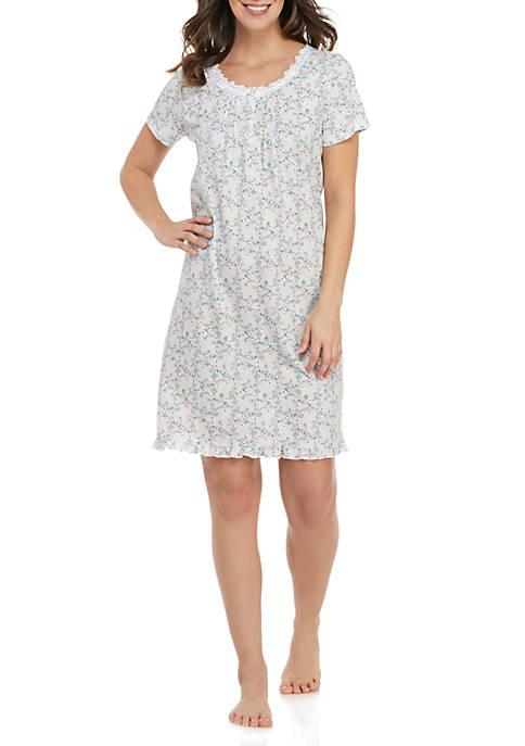 Short Sleeve Floral Sleep Gown