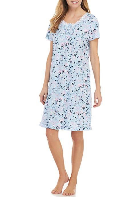 Kim Rogers® Short Sleeve Floral Sleep Gown
