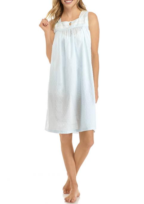 Sleeveless Clip Dot Sleep Gown
