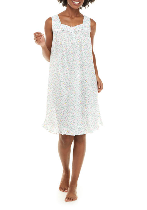 Sleeveless Woven Cotton Gown