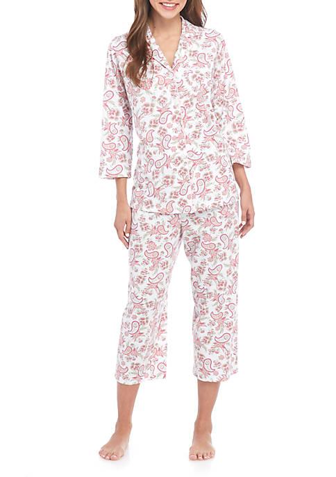 Kim Rogers® Notch Patchwork Pajama Set