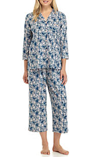 Two-Piece Three-Quarter Sleeve Bow Pajama Set