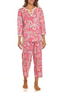 2-Piece Three-Quarter Sleeve Twin Print Pajama Set