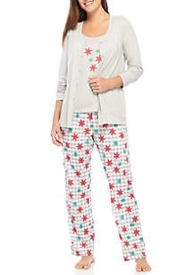3 Piece Cardigan Pajama Set