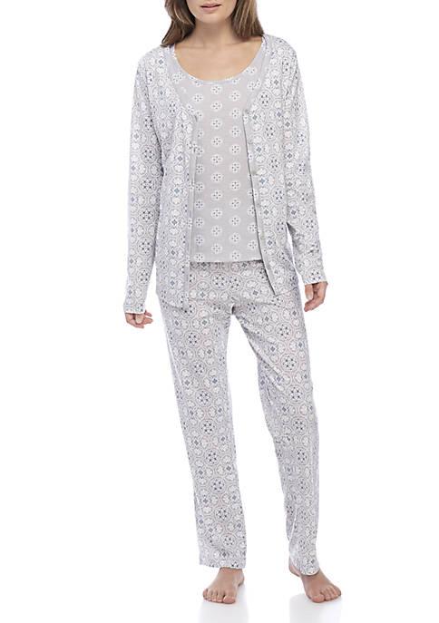 Kim Rogers® 3-Piece Cardigan Pajama Set
