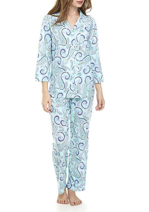 Kim Rogers® 2-Piece Lace Notch Pajama Set
