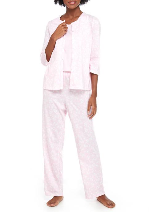 Kim Rogers® 3 Piece Button Capri Pajama Set