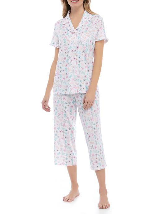 Kim Rogers® Womens Notch Capri Pajama Set