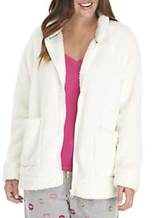 Zip Front Sherpa Cozy Robe