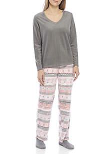 Fair Isle Tropicana Fleece Pajama Set