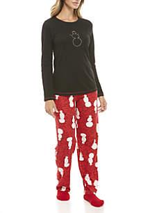 3-Piece Snowball Effect Long Sleeve Pajama Set
