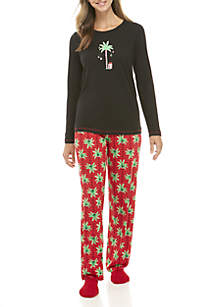 3-Piece Candy Palm Long Sleeve Pajama Set