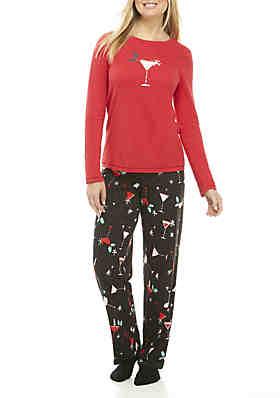 ... 6d3e4 9593e HUE® 3-Piece Holiday Sparkler Long Sleeve Pajama Set . new  list cc9e8 59243 Pajama Sets Cute Women 2 Pieces Set Print Crop Top + Shorts  ... 2449b19f9