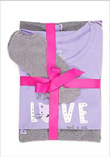 3-Piece Short Sleeve Love Cat Knit Pajama Set