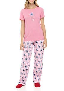Candy Palm Short Sleeve Knit Set