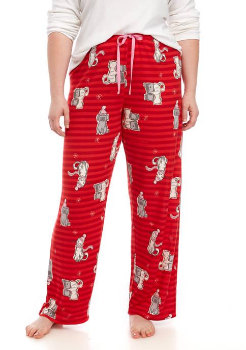 HUE® Womens Dog and Cat Stripe Sleep Pants