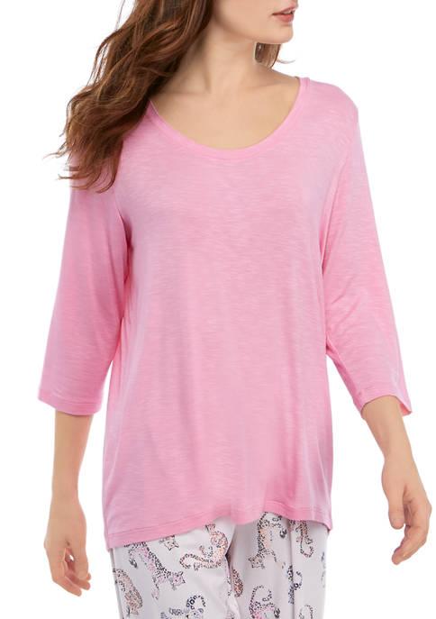 3/4 Sleeve Slub Scoop Neck Sleep T-Shirt