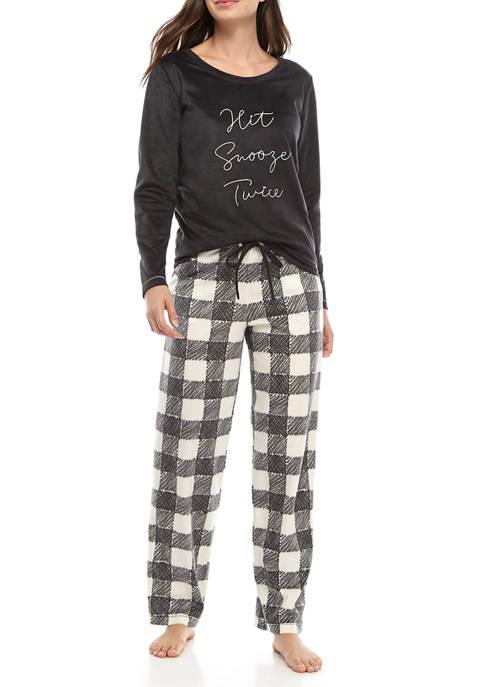 HUE® Womens 2 Piece Hit Snooze Pajama Set