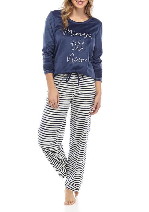 HUE® 2 Piece Suede Fleece Mimosa Noon Pajama