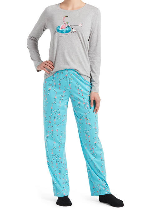 HUE® Chilling Flamingo Pajama Set with Socks