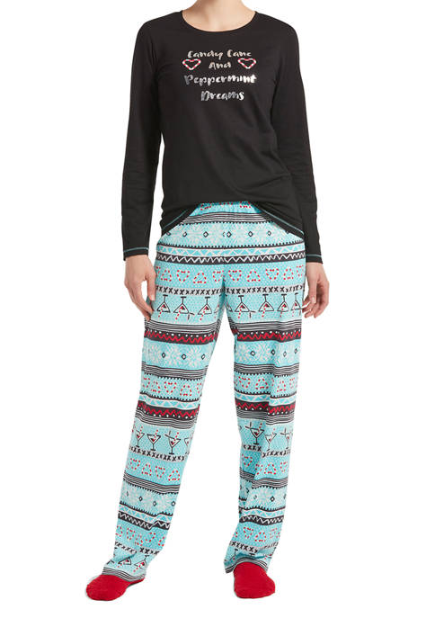 Fairisle Drinks Pajama Set with Socks