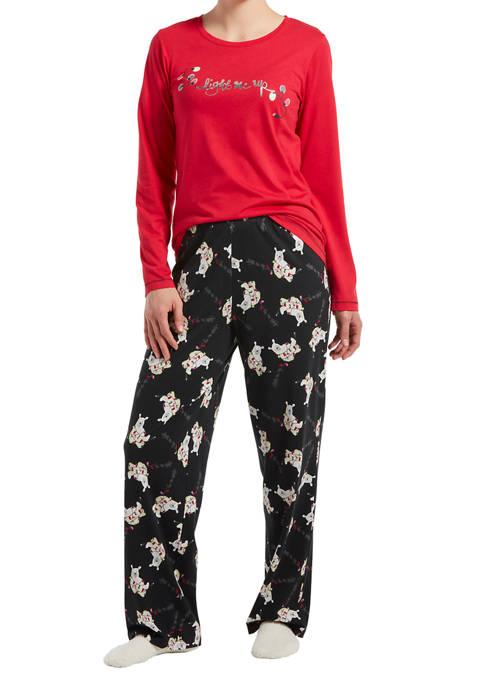 HUE® Polar Bear Pajama Set with Socks