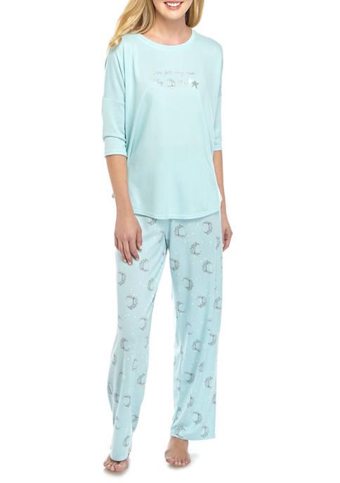 HUE® Womens 2 Piece Loose Knit Pajama Set