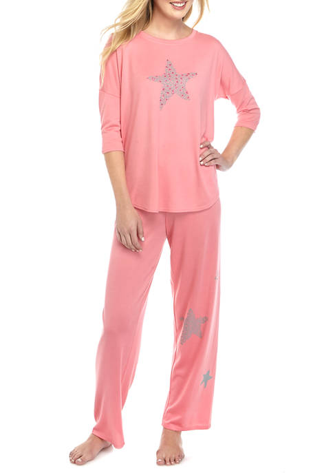 HUE® 2 Piece Loose Knit Pajama Set