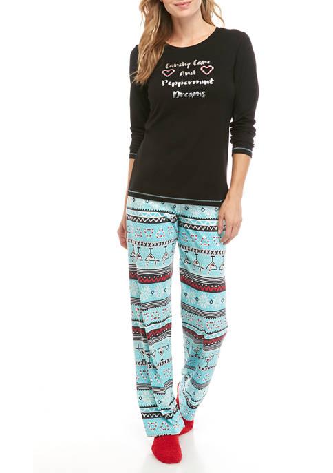 HUE® Womens 3 Piece Fairisle Drinks Pajama Set
