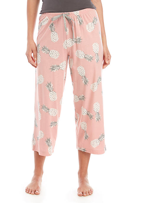 HUE® Retro Pink Capri Sleep Pajama Pants