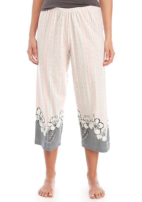 HUE® Floral Border Capri Sleep Pants