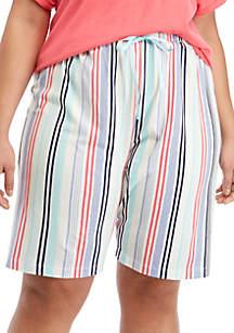 HUE® Nautical Stripe Bermuda Sleep Pants