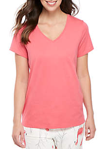 HUE® Short Sleeve V Neck Sleep Tee