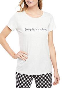 HUE® Short Sleeve Holiday Sleep Tee