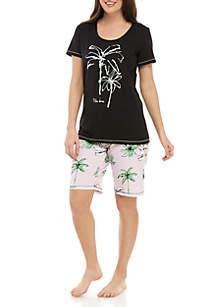 HUE® 2 Piece Palm Isle Bermuda Pajama Set