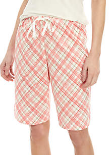 HUE® Plaid Bermuda Shorts
